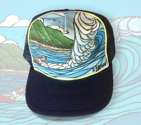 "The ""Pipeline Style"" trucker hat features an image of Gerry Lopez surfing Pipeline on the North Shore of Oahu."