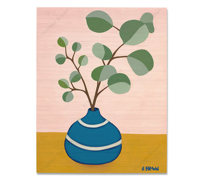 Plant #2599 - Bamboo wood print of a beautiful potted plant still life with unique foliage by tropical artist Heather Brown