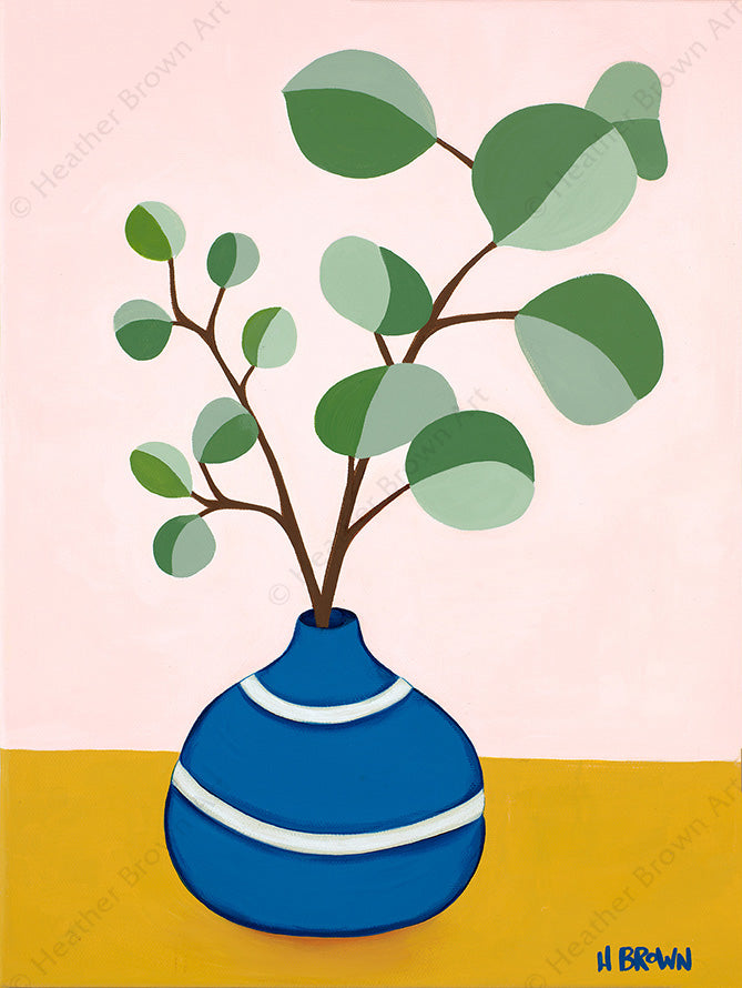 Plant #2599 - Open Edition Giclee on Canvas by tropical Hawaii artist Heather Brown featuring a beautiful potted plant still life with unique foliage.