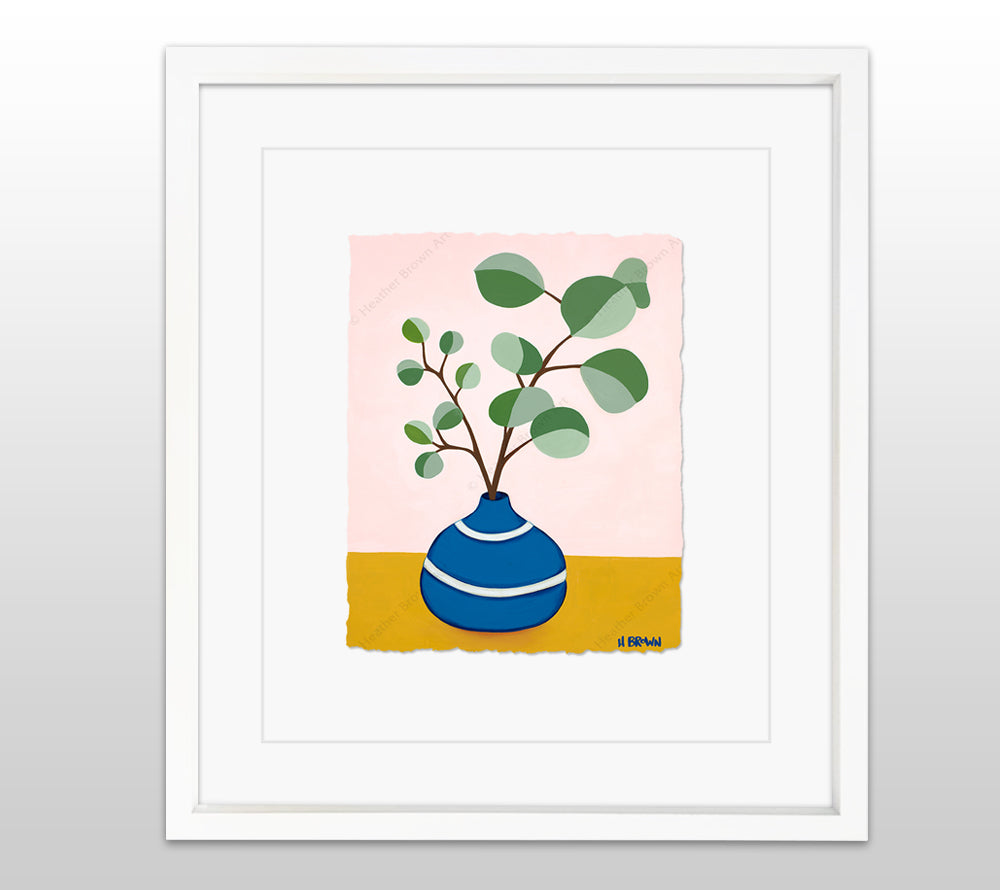 Plant #2599 - White Framed Deckled Paper Print by Heather Brown