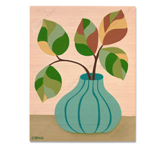 Plant #2601 - Bamboo wood print of a beautiful potted plant still life with unique foliage by tropical artist Heather Brown