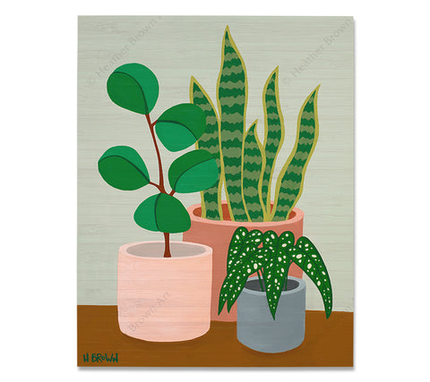 Plant #2602 - Bamboo wood print of a beautiful potted plant still life with unique foliage by tropical artist Heather Brown