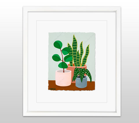 Plant #2602 - White Framed Deckled Paper Print by Heather Brown