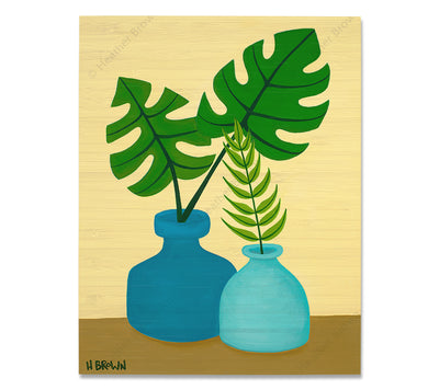 Plant #2603 - Bamboo wood print of a beautiful potted plant still life with unique foliage by tropical artist Heather Brown
