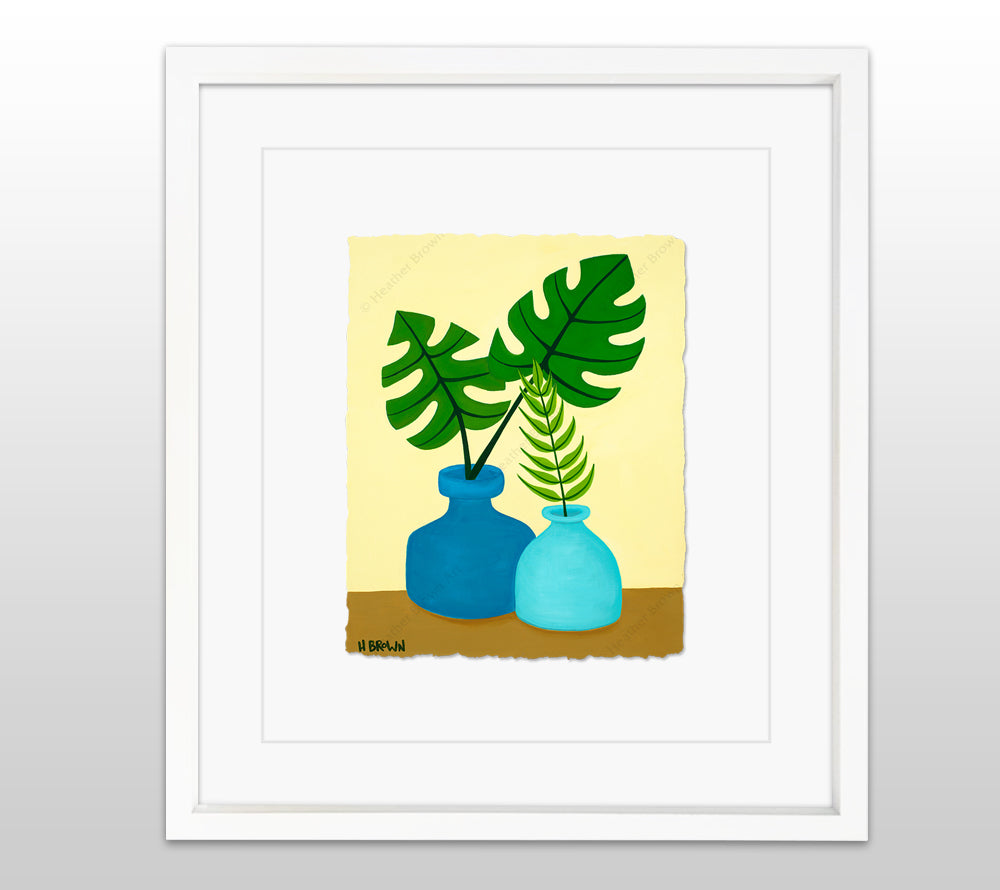 Plant #2603 - White Framed Deckled Paper Print by Heather Brown