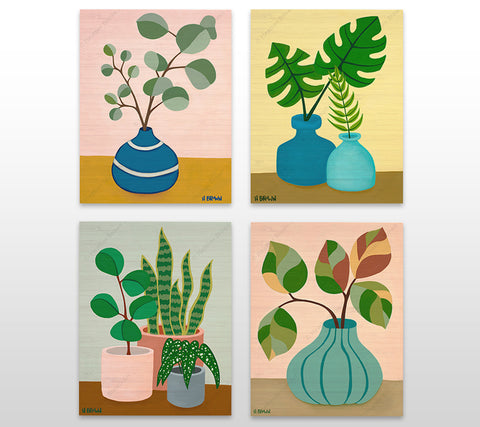 """Plant"" Still Life Series - Bamboo wood prints of beautiful potted plant still lives with unique foliage by tropical artist Heather Brown"