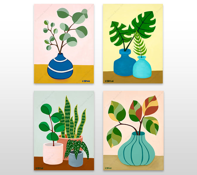 """Plant"" Still Life Series - Open Edition Giclees on Canvas by tropical Hawaii artist Heather Brown featuring beautiful potted plant still lives with unique foliage."