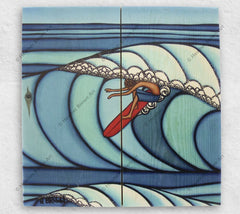 Pupukea Surf by Hawaii artist Heather Brown showing a Hawaii surfer