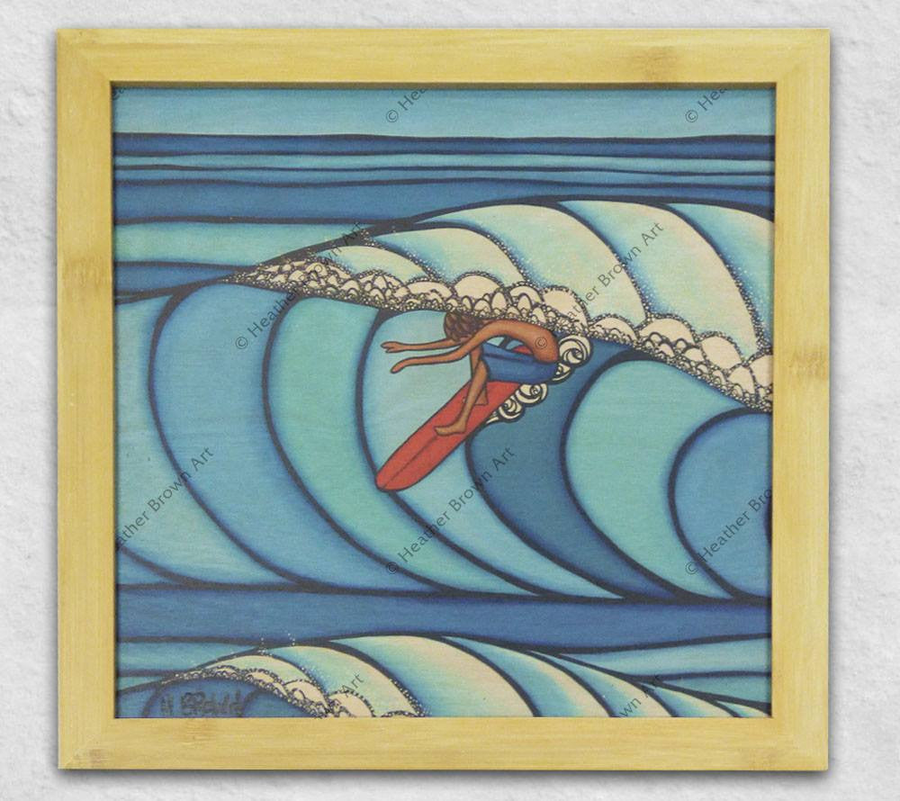 Pupukea Surf painting framed in bamboo by Heather Brown Art