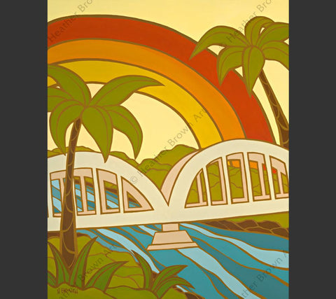 Rainbow Bridge - Artist Proof & Open Edition Painting by tropical Hawaii artist Heather Brown