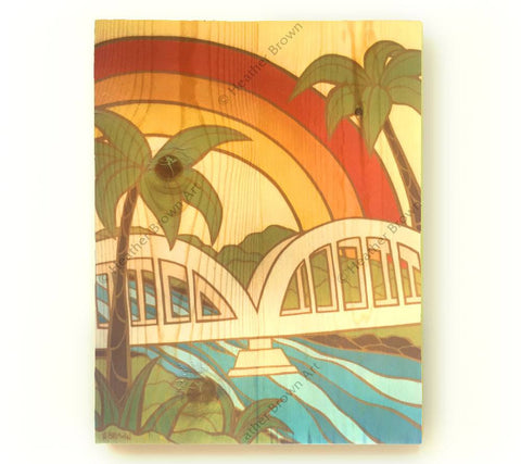 Rainbow Bridge - Open Edition Wood Panel Print by Heather Brown
