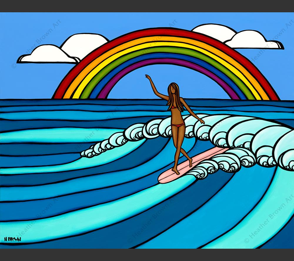 Rainbow Surf - Painting of a surfer girl riding epic waves while framed by a classic Hawaiian rainbow by tropical artist Heather Brown