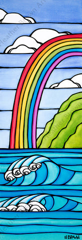 Rainbow to the Sea - A classic Hawaiian rainbow arching over rolling waves and a tropical landscape by beach artist Heather Brown