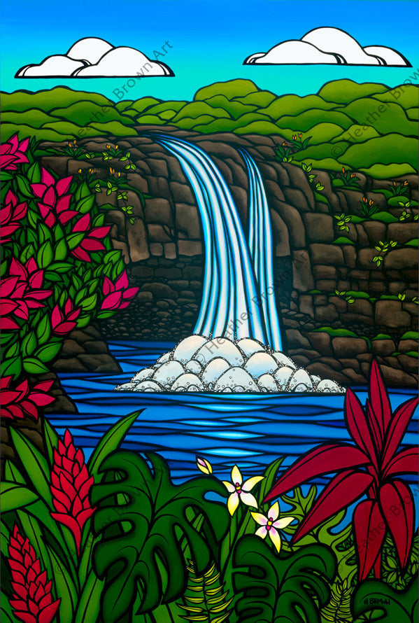 Tropical Hawaiian Waterfall Painting by surf artist Heather Brown