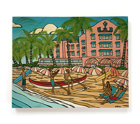 "Royal Hawaiian - Painting of the famous ""Pink Palace"" hotel in Waikiki by Hawaii artist Heather Brown"