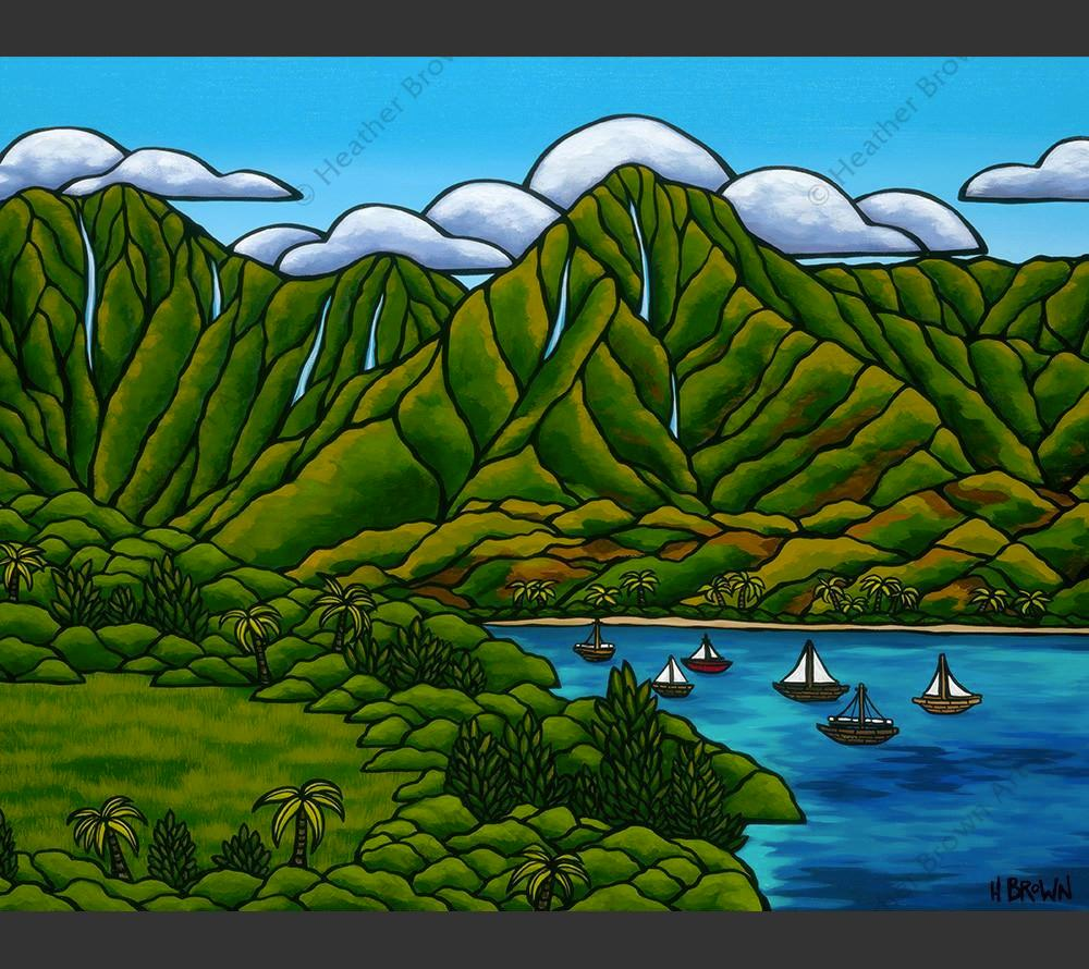 Sailboats at Hanalei- Matted print of a peaceful Hawaiian view by Oahu surf artist Heather Brown