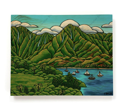 Sailboats at Hanalei - Painting of a beautiful view of Hanalei Bay by tropical artist Heather Brown