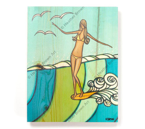 Sea Siren - Open Edition Wood Panel Print by Heather Brown