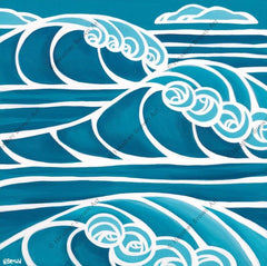 Shades of Hawaii #8 – Blue and white surf art showing big Hawaii waves by surf artist Heather Brown