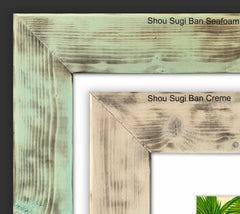 Corner Detail – Shou Sugi Ban Seafoam and Creme Reclaimed Wood Frames by Heather Brown Art