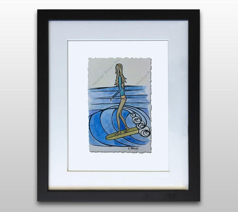 Sliding Into the Weekend - Framed Deckled Paper Print by Heather Brown