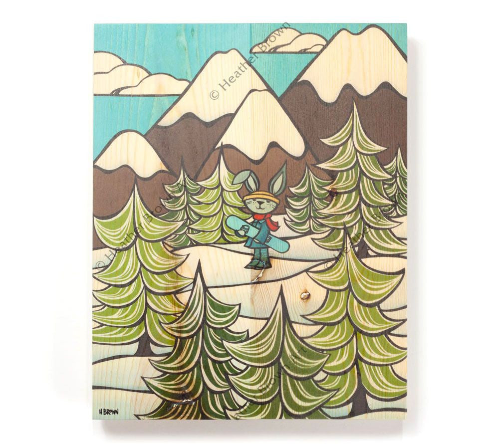 Snow Bunny - Open Edition Wood Panel Print by Heather Brown
