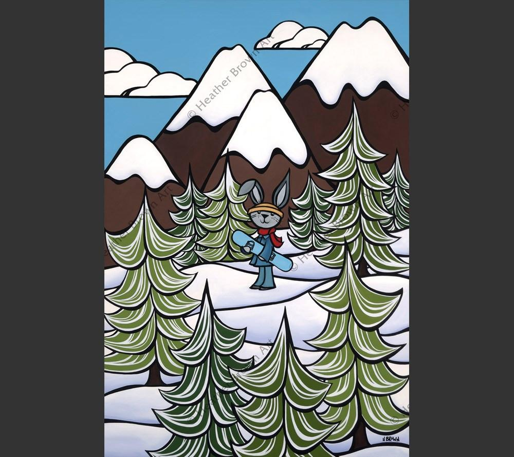 Snow Bunny - Bunny snowboarding down the snowcapped Rocky Mountains by Heather Brown