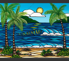 Summer Sun - Painting by Heather Brown featuring rolling waves crashing towards a bright sunny beach on a summer's day in Hawaii.