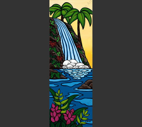 Sunset Waterfall - Matted Print featuring a serene waterfall seen at sunset in a tropical oasis.