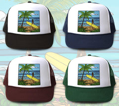 """Sunshine Surf"" Trucker Hat is available in four hat colors"