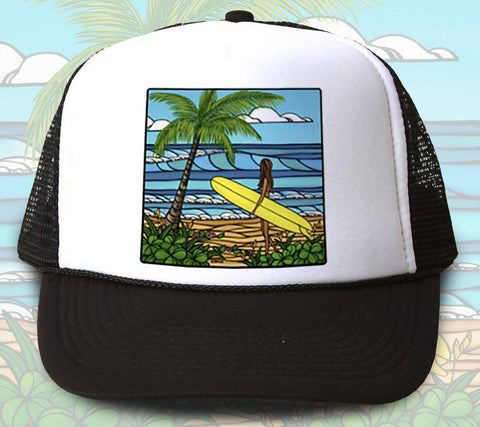 """Sunshine Surf"" Trucker Hat - Wearable Art by Tropical Artist Heather Brown"