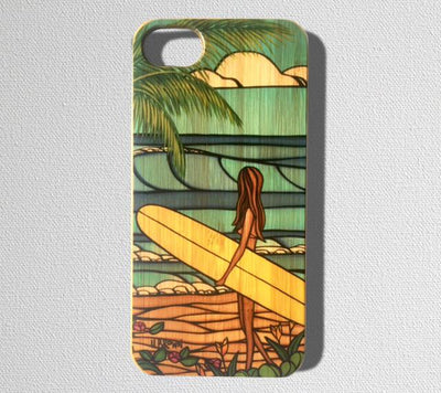 This durable, limited release iPhone case features a surfer girl out looking for the perfect tropical wave.