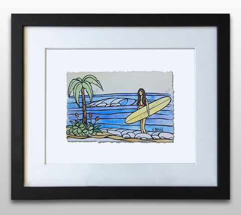 Surf Days - Framed Deckled Paper Print by Heather Brown