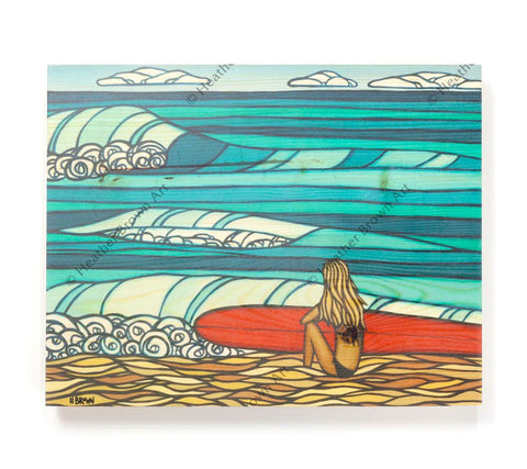 Surf Girl - Open Edition Wood Panel Print by Heather Brown