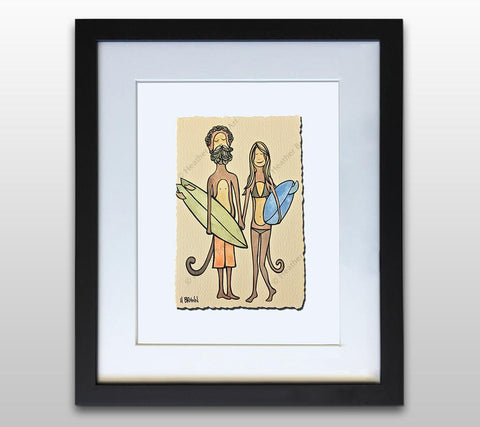 Surf Monkeys - Framed Deckled Paper Print by Heather Brown