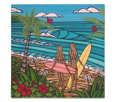 Surf Sisters - Bamboo wood print of two sisters out for an epic day of sun, surf, and sea by tropical artist Heather Brown
