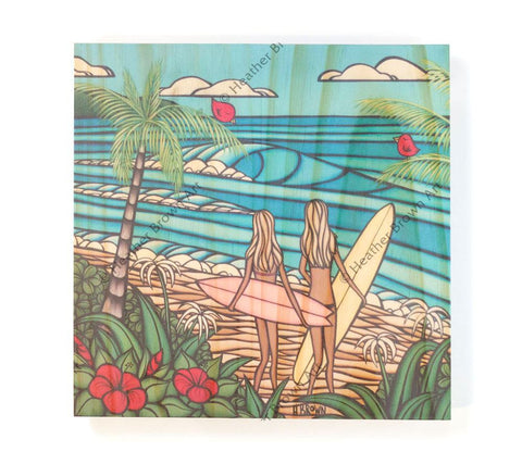 Surf Sisters - Open Edition Wood Panel Print by Heather Brown