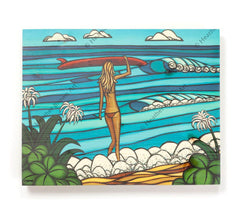 Surf Stroll - Open Edition Wood Panel Print by Heather Brown
