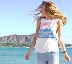 Heather Brown's Spring Swell artwork for Rip Curl Muscle Tank and diamond head