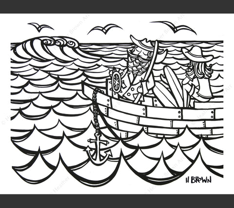 Surf Art Captain and Me Coloring Book Page