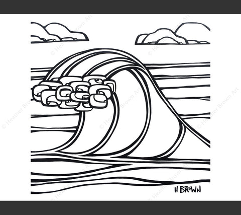 Surf Art Wave Coloring Book Page