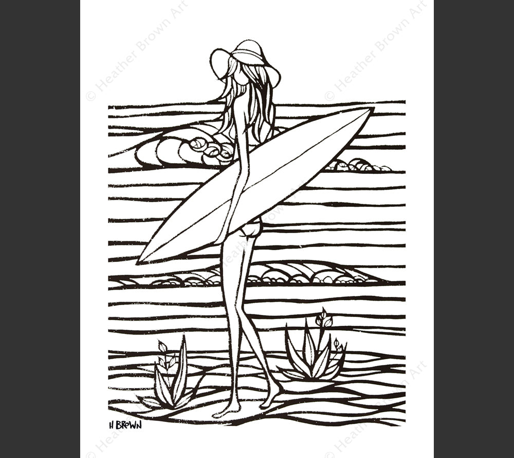 Surf Girl Sandy Coloring Book Page