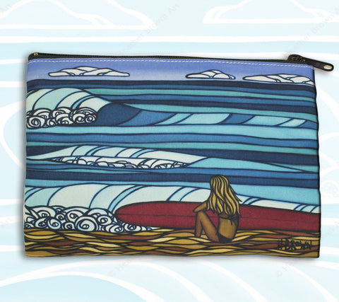 Surf Girl Beach Clutch - Unique Cosmetic Case and Clutch by Hawaii artist Heather Brown