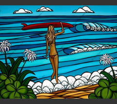Surf Stroll - Surfer girl and her surfboard after walking the Hawaii coastline by Hawaii surf artist Heather Brown
