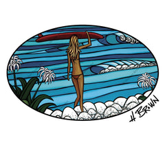 Surf Stroll artwork by Hawaii artist Heather Brown