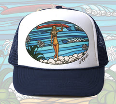 Surf Stroll Trucker Hat by Hawaii artist Heather Brown