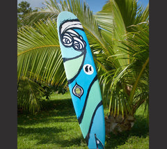Unique surfboard hand made and hand painted by the godmother of modern surf art Heather Brown