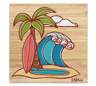 Surfboards - Bamboo wood print of a classic view of a surfboards leaning against a palm tree with an epic wave rolling in by tropical artist Heather Brown