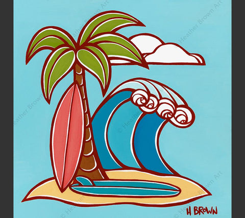 "Surfboards - Matted print from the ""Hawaiiana Elements Series"" by North Shore Oahu Tropical Artist Heather Brown featuring a classic view of a surfboards leaning against a palm tree with an epic wave rolling in."