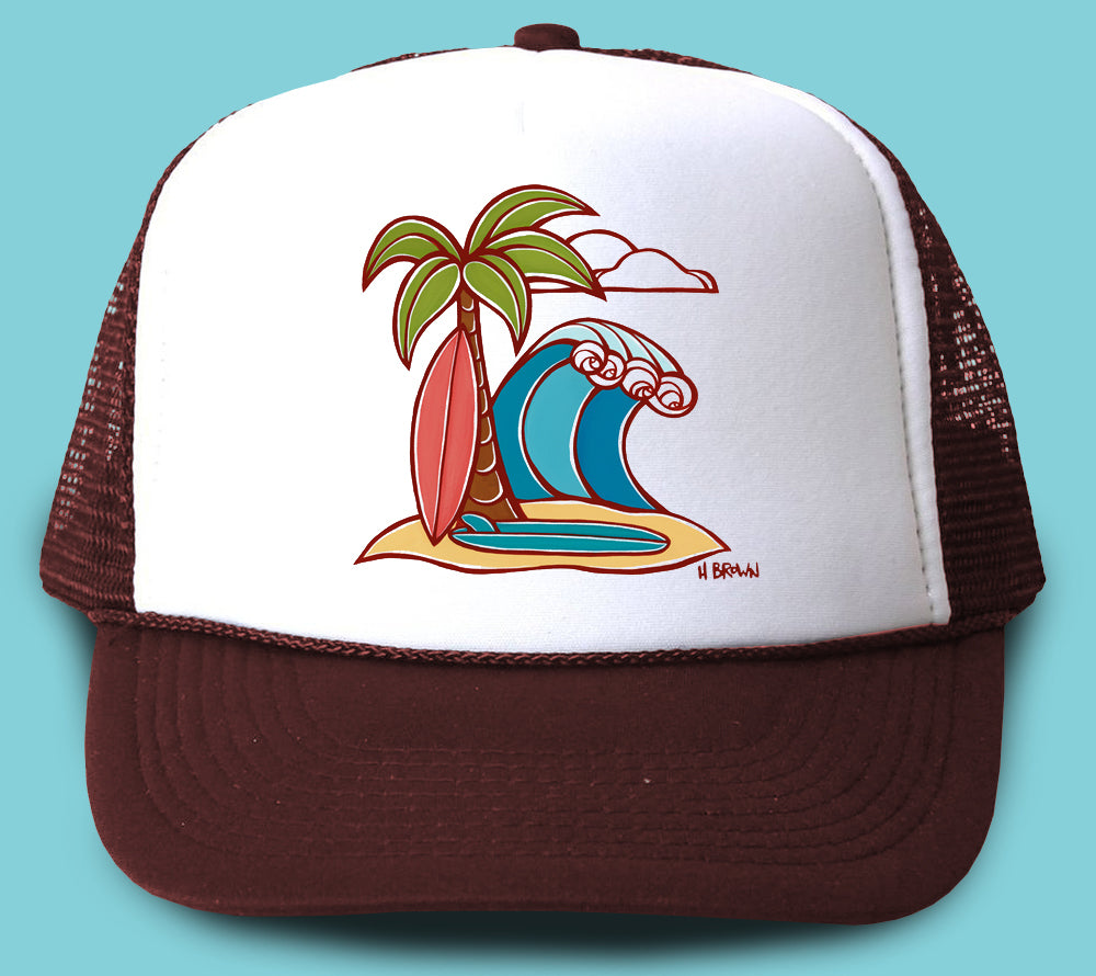 """Surfboards"" Trucker Hat - Wearable Art by Tropical Artist Heather Brown"